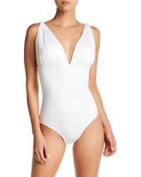 Carmen Marc Valvo - Draped One-piece Swimsuit - Lyst