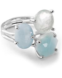 Ippolita - Rock Candy Sterling Silver Prong Set Aquamarine, Blue Topaz, Mother Of Pearl Cluster Ring - Size 7 - Lyst