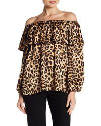Vince Camuto - Off-the-shoulder Leopard Print Blouse - Lyst