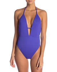 The Bikini Lab - Solid Plunge Shirred One-piece - Lyst