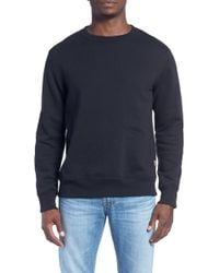 Billy Reid - 'dover' Crewneck Sweatshirt With Leather Elbow Patches - Lyst