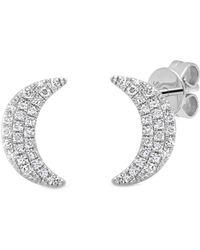 Ron Hami - 14k White Gold Diamond Moon Stud Earrings - 0.11 Ctw - Lyst