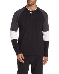 Kenneth Cole - Long Sleeve Colorblock Knit Henley Shirt - Lyst