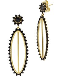 Freida Rothman - 14k Yellow Gold Plated Sterling Silver Pave Cz Harlequin Edge Oval Drop Earrings - Lyst