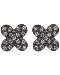 Freida Rothman - Black & Gold Vermeil Cz Clover Stud Earrings - Lyst