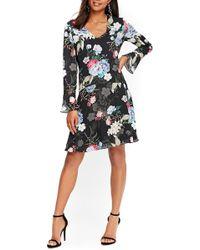 Wallis - Drop Waist Floral Print Dress - Lyst