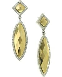 1928 - Two-tone Marquise Earrings - Lyst