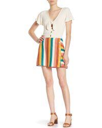 Lush - Striped Button-front Miniskirt - Lyst