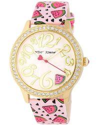 Betsey Johnson | Women's Wacky Watermelon Crystal Leather Watch | Lyst