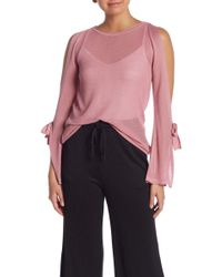 Kensie - Split Sleeve Tie Cold Shoulder Sweater - Lyst