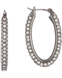 Lucky Brand - Small Crystal Pave Oval Hoop Earrings - Lyst