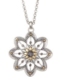 Lucky Brand - Floral Pendant Necklace - Lyst