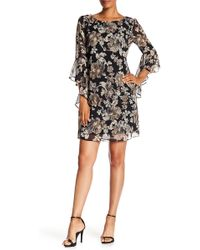 Connected Apparel - Floral Print Bell Sleeve Dress - Lyst
