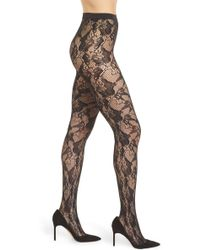 Wolford - Louise Floral Fishnet Tights - Lyst