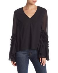 Do+Be Collection - V-neck Ruffled Bell Sleeve Blouse - Lyst