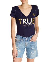 True Religion - Metallic Graphic V-neck Tee - Lyst