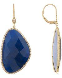 Meira T - 14k Yellow Gold Diamond Halo Labradorite Drop Earrings - Lyst