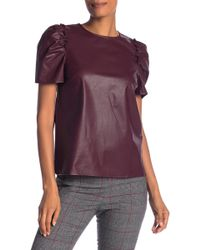 Cece by Cynthia Steffe - Puffed Sleeves Faux Leather Top - Lyst