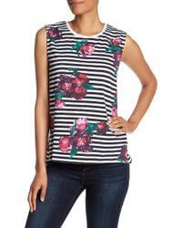 French Connection - Jude Stripe Flower Tank Top - Lyst
