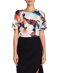 Kendall + Kylie - Print Ruffle Cold Shoulder Crop Top - Lyst