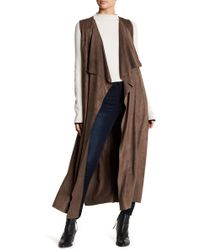On The Road - Bird Faux Suede Draped Long Vest - Lyst