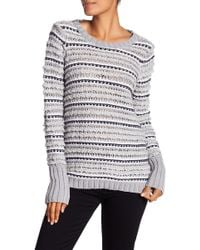 Chaser - Knit Stripe Back Cutout Sweater - Lyst