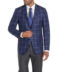 Hickey Freeman Navy Windowpane Two Button Notch Lapel Soft Luxe Suit Classic Fit Separates Jacket - Blue