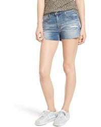 AG Jeans - The Bryn High Waist Cutoff Denim Shorts (indigo Deluge Destructed) - Lyst