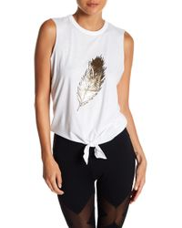 Warrior by Danica Patrick Active - Feather Graphic Tie Front Tank - Lyst