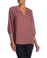 Pleione - Split Neck 3/4 Sleeve Blouse - Lyst