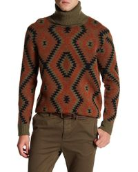 Loft 604 - Cowl Neck Pattern Print Wool Jumper - Lyst