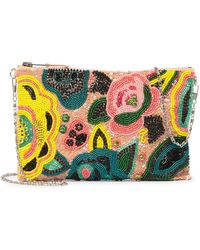 G-Lish - Floral Beaded Zip-top Clutch - Lyst