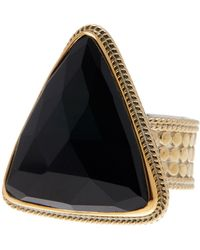 Anna Beck - 18k Gold Plated Sterling Silver Black Onyx Triangle Ring - Lyst