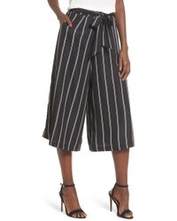 4si3nna - Stripe Tie Front Crop Pants - Lyst
