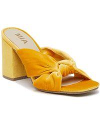 MIA - Sonny Velvet Block Heel Sandal - Lyst