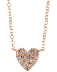 Ron Hami | 14k Rose Gold Pave Diamond Heart Pendant Necklace - 0.09 Ctw | Lyst
