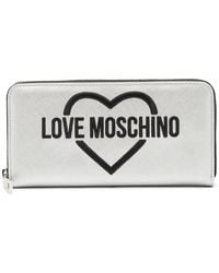 Love Moschino - Logo Embroidered Patent Wallet - Lyst