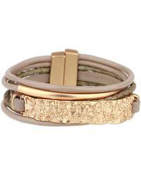 Saachi - Taupe Gold Unpaved Bar Leather Bracelet - Lyst