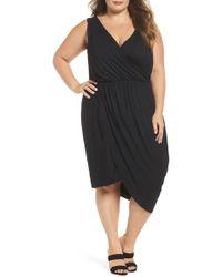 REBEL WILSON X ANGELS - Drape Surplice Jersey Midi Dress (plus Size) - Lyst