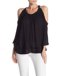 43e2e43ec4059 Lyst - Dex Printed Double Layer Back Top (plus Size) in Black