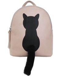 T-Shirt & Jeans - Cat Faux Fur Plush Tail Small Backpack - Lyst
