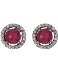 Adornia - Sterling Silver Echo Ruby & Champagne Diamond Halo Stud Earrings - Lyst