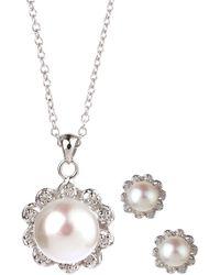 Splendid - 8-9mm White Freshwater Pearl Earrings & Necklace Set - Lyst