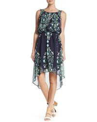 Sandra Darren - Printed Hi-lo Hem Dress - Lyst