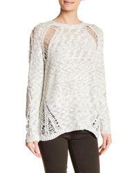 Lush - Heathered Distressed Sweater - Lyst