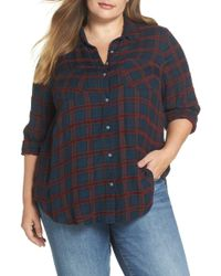 Lucky Brand - Back Pleat Chenille Shirt (plus Size) - Lyst