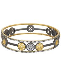 Freida Rothman - 14k Gold & Rhodium Plated Sterling Silver Cz Lattice Motif Open Circle Trellis Bangle Set - Set Of 3 - Lyst