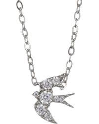 Nadri - Rhodium Plated Brass Sparrow Pendant Necklace - Lyst