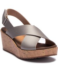 Clarks - Stasha Hale Leather Wedge Sandal - Lyst