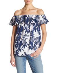 NYDJ - Off-the-shoulder Tropical Print Top - Lyst